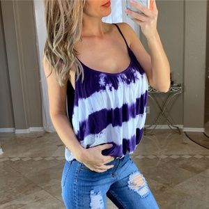 Young Fabulous Broke Tie Dye Purple White Tank Top